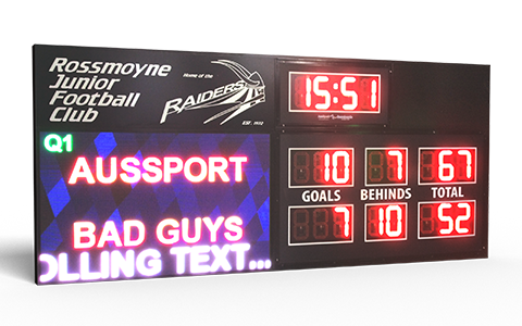 Hybrid video scoreboard basketball