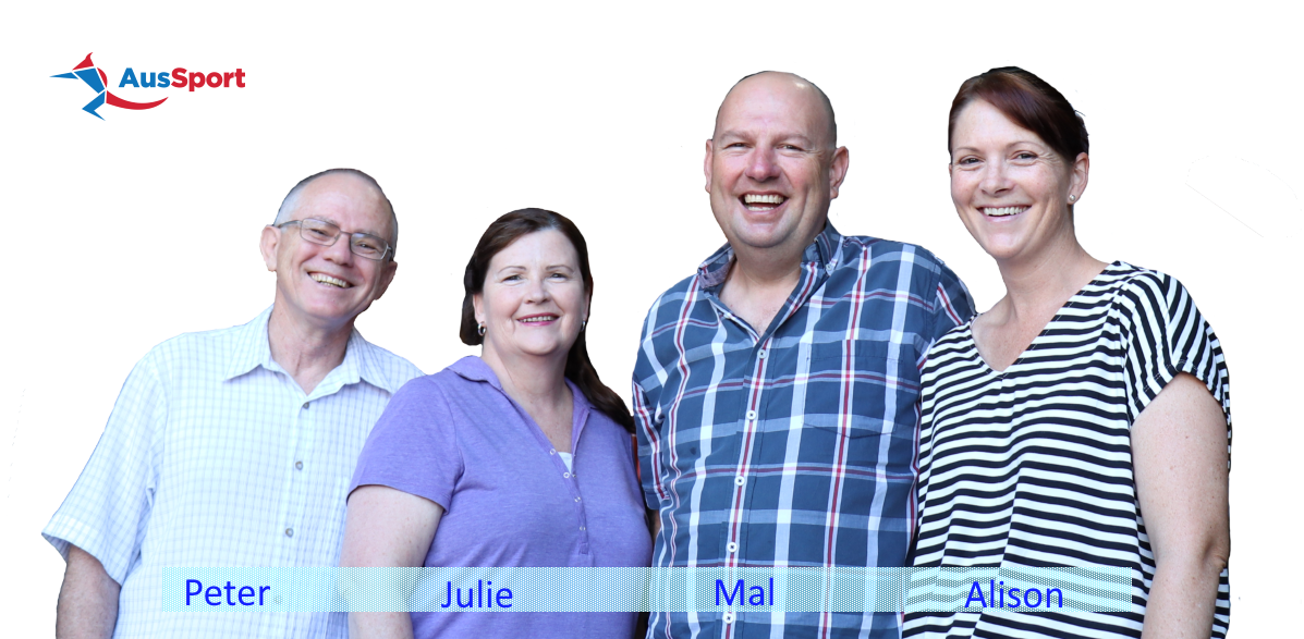 Peter Vane, Julie Garland, Mal Neale, Alison Neale - AusSport owners
